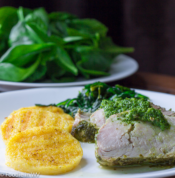 Click for recipe for Scallion-Basil Pesto with Pork Tenderloin, Spinach and Polenta