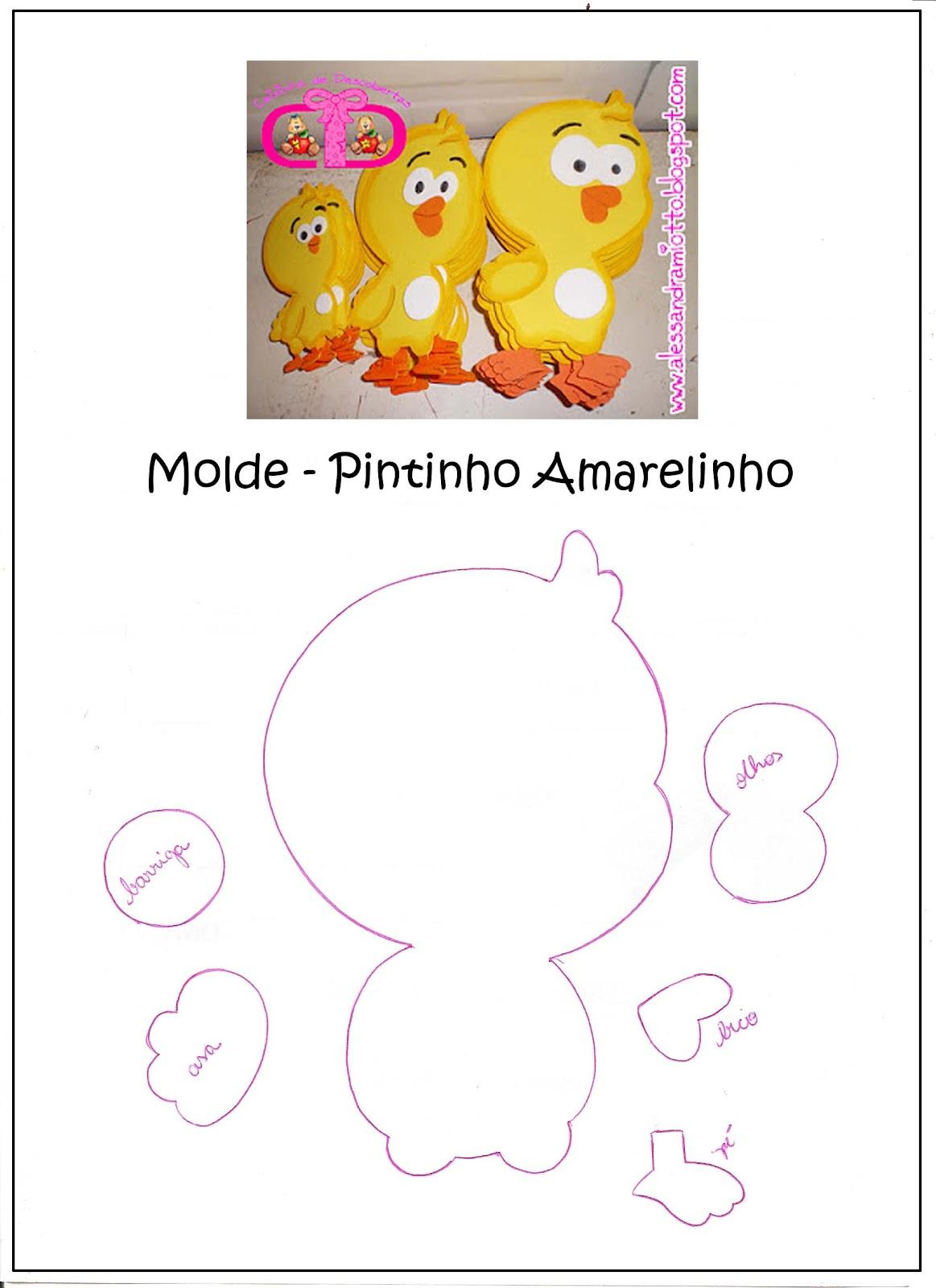 Pintinho amarelinho - Aplique / Molde brinde