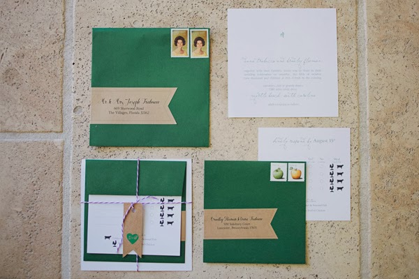 Green and white wedding invitations and save the dates printed by GotPrint