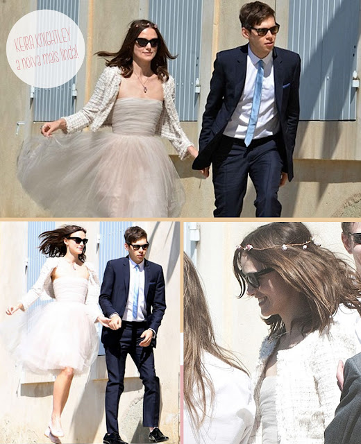 casamento, celebridade, vestido curto, cabelo solto, tiara de flores, sapatilha, sem salto, chanel, amor,
