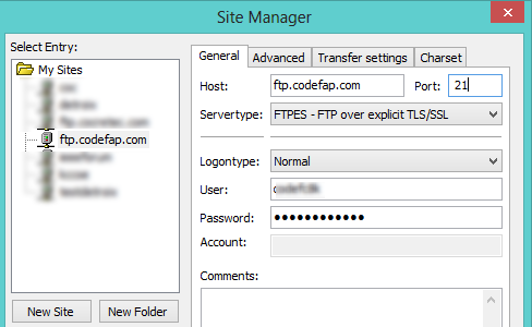 Site Manager FileZilla