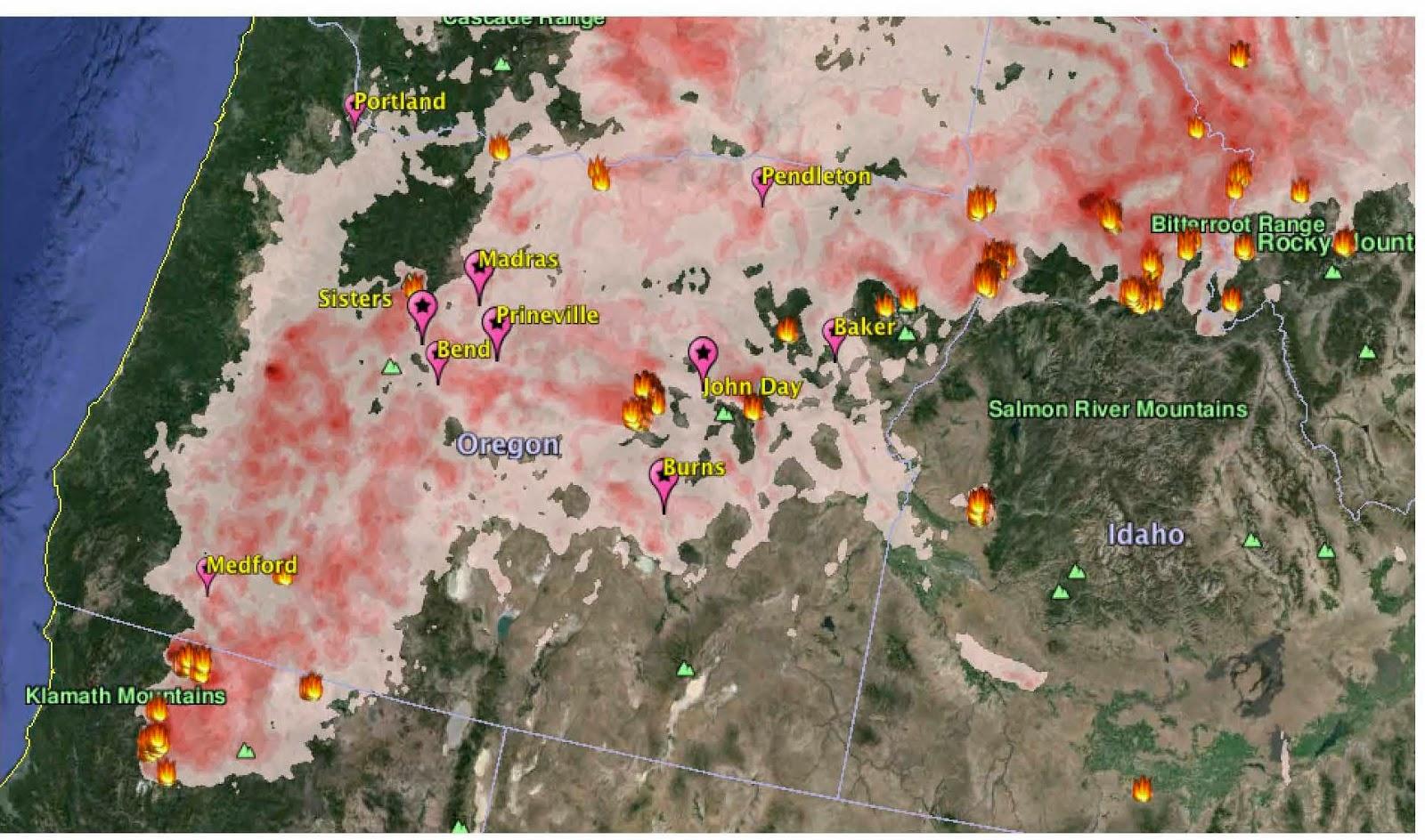 Oregon Smoke Information Air Quality Modeling Forecast Maps