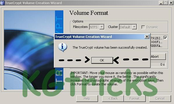 True Crypt Encrypted Volume Successfully Created