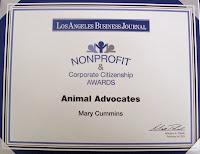 Mary Cummins, real estate appraiser, animal advocates, los angeles, california
