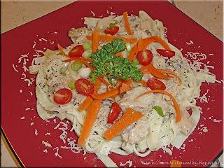 homemade fettucine with creamed turkey sauce