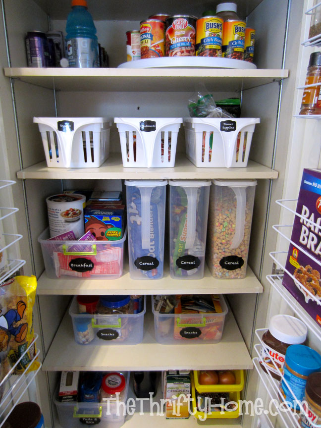 The Thrifty Home: Simple Solutions to Organize a Deep Pantry on ideas for organizing refrigerator, ideas for organizing closets, ideas for organizing tools, ideas for small kitchen, ideas for organizing living room furniture, ideas for home organization, ideas for organizing toys,