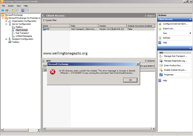 an iis directory entry couldn't be created. the error message is access is denied - Erro ao executar o cmdlet Get-OWAVirtualDirectory no Exchange 2010