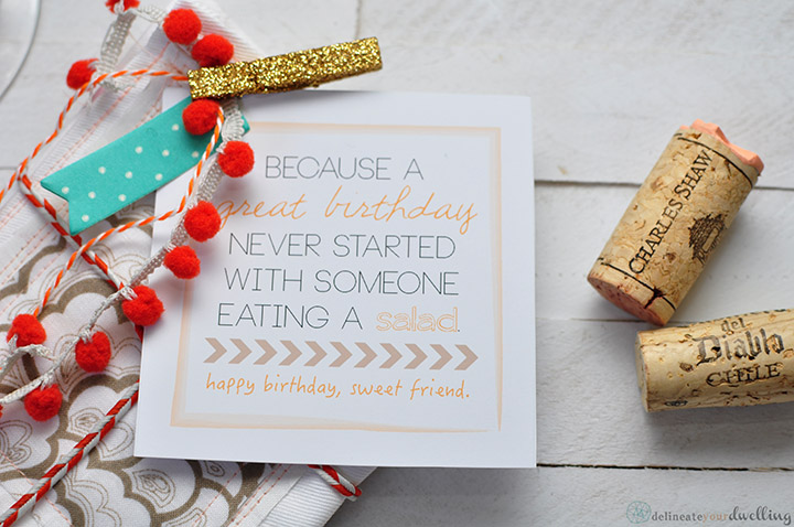 Stamped Cocktail Napkins and a Free Printable, Delineate Your Dwelling #birthday #gift #stamp #birthdaygiftidea
