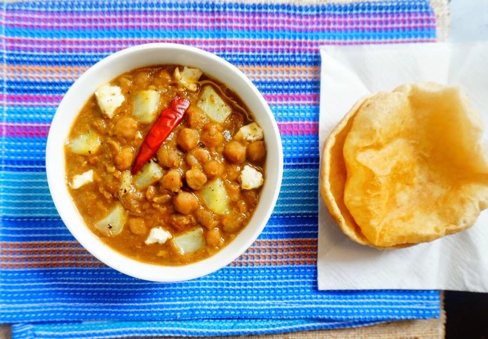 Punjabi chole, chole puri, chana masala, chickpeas curry, chole poori