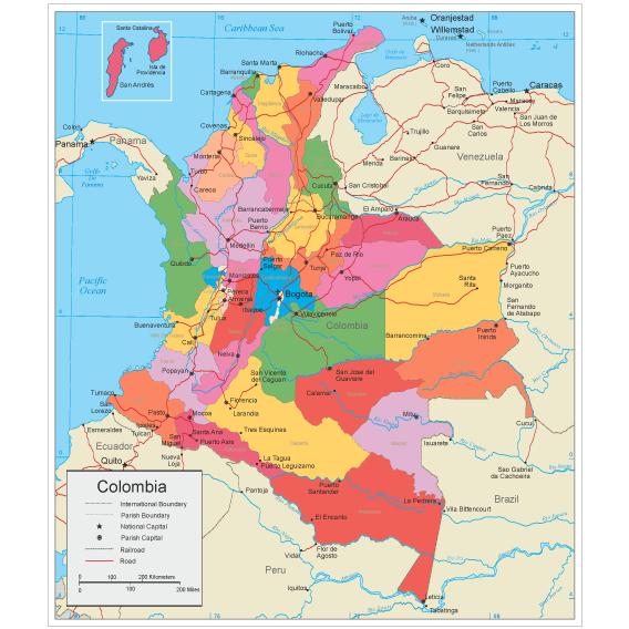 Mapa político de Colombia editable - Vector