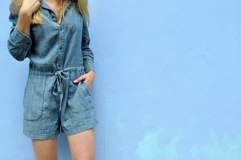 Crop detail of Level 99 Chambray Playsuit anthropologie
