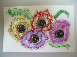 Free motion machine sewn flower ATC