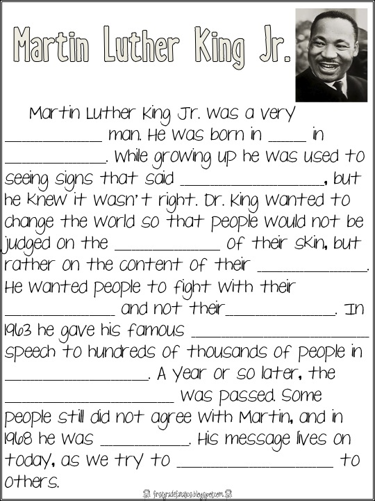 First Grade Fanatics January 2012 – Martin Luther King Jr Worksheets Free