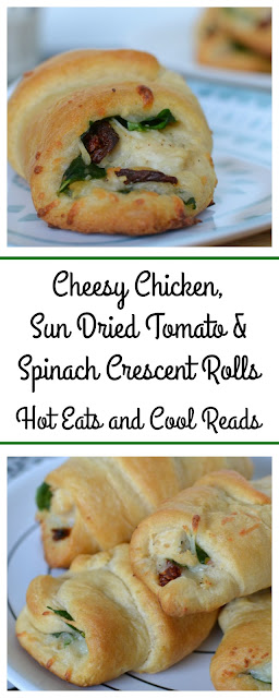 Great served as an appetizer, lunch or side! So delicious and flavorful! Cheesy Chicken, Sun Dried Tomato and Spinach Crescent Rolls Recipe from Hot Eats and Cool Reads