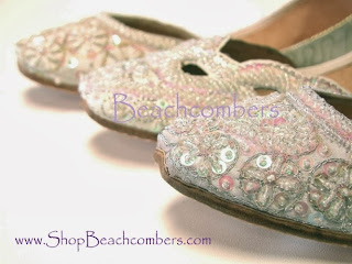 White and ivory beaded bridal wedding flats in a pretty Indian shoe style.