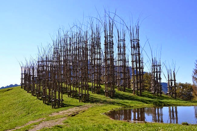 The structure is formed by 42 ivy-covered columns separated in five aisles. - A Gorgeous Outdoor Cathedral Made Of Live Trees Grows In Northern Italy