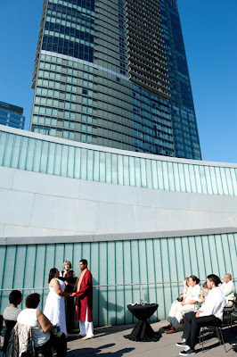 Manoj and Tameka's rooftop wedding at the Bellevue Art Musem's Court of Lights