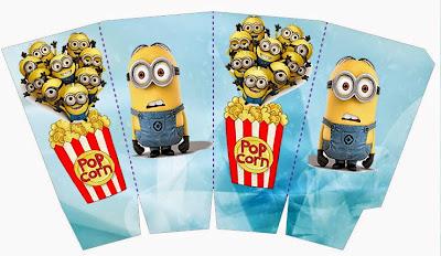 Minions Free Printable Pop Corn Box.