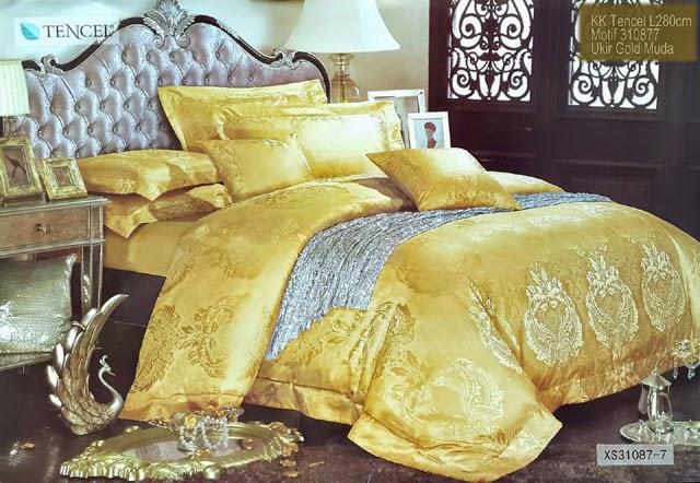 Sprei Kingkoil Tencel Motif Ukir Gold Muda
