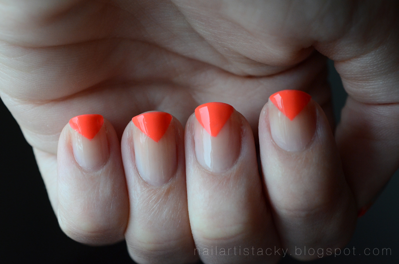 Neon Orange & Nude Geometric Nail Art