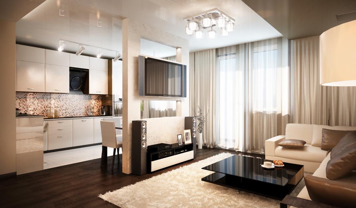 Дизайн квартиры кухни совмещенной с гостиной
