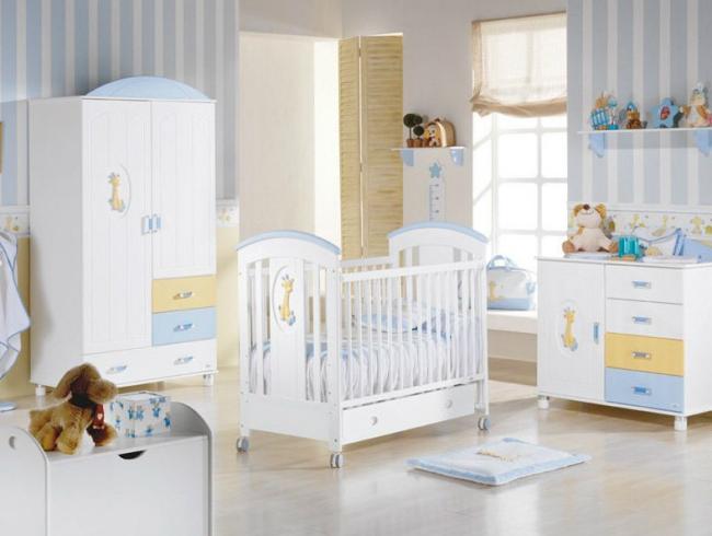 Rayas celestes y blancas imagui for Habitacion bebe rayas