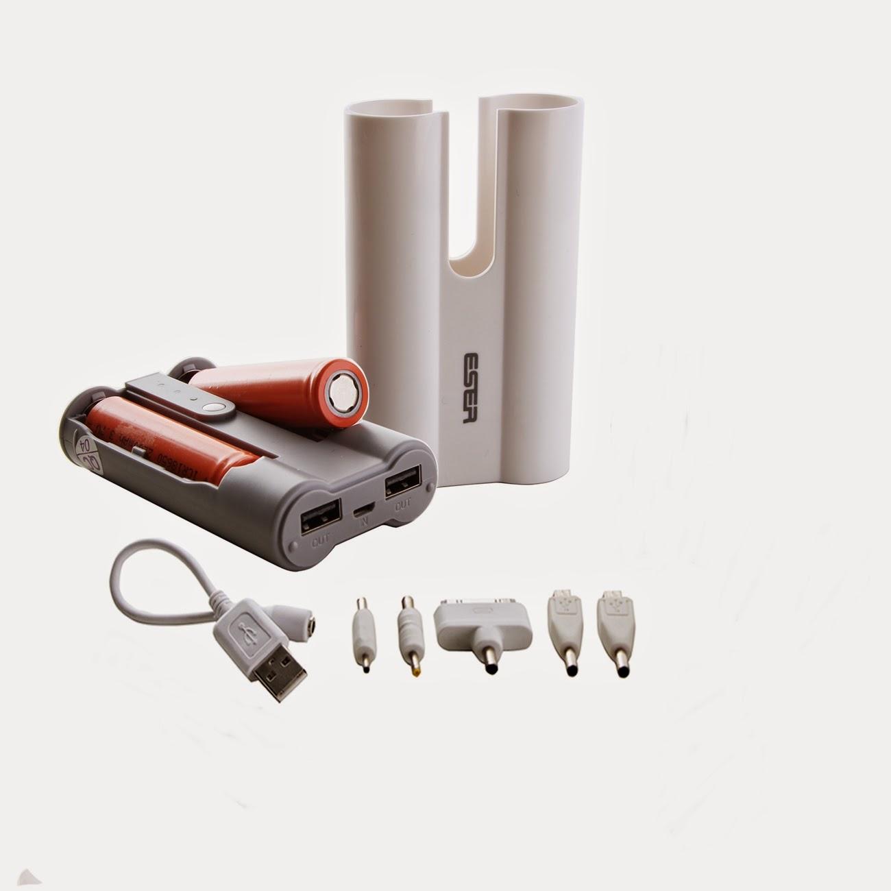 Power Bank Eser 2 Output (Baterai bisa diganti)