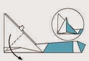 Bước 12: Từ vị trí mũi Tên ta mở miếng giấy ra tạo thành một hình tứ giác.