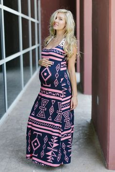 vestido longo estampado para gravida