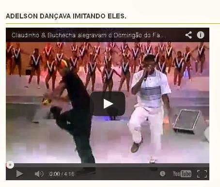 Adelson dançava imitando Claudinho e Bochecha.