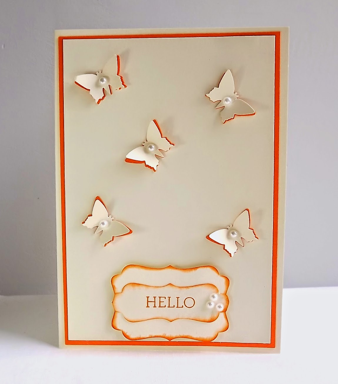 Stampin Up! butterfly card, Very Vanilla and Tangelo Twist