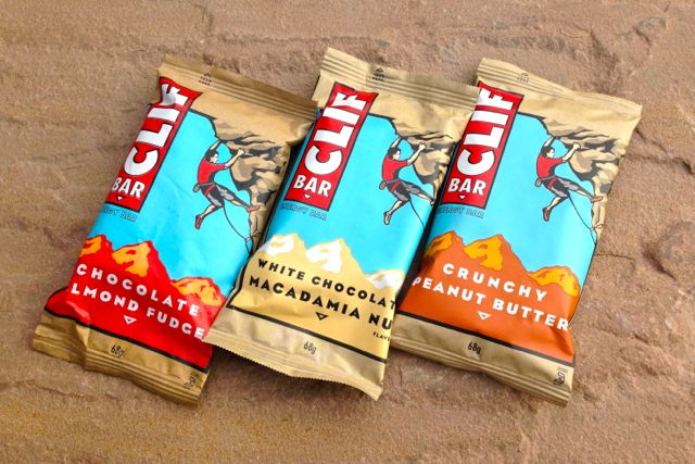 Clif Bars 'Chocolate Almond Fudge', 'White Chocolate Macadamia Nut', 'Crunchy Peanut Butter'