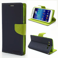 Mercury Goospery Fancy Diary Wallet Leather Case for Samsung Galaxy Mega 5.8 I9150 I9152 - Dark Blue