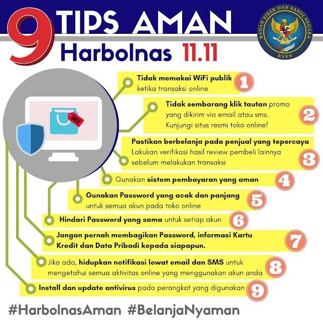 9 Tips aman HARBOLNAS 11.11 dari BSSN