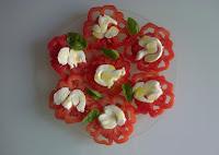 Découpe de tomate cœur-de-boeuf, salade tomate - mozzarella - basilic