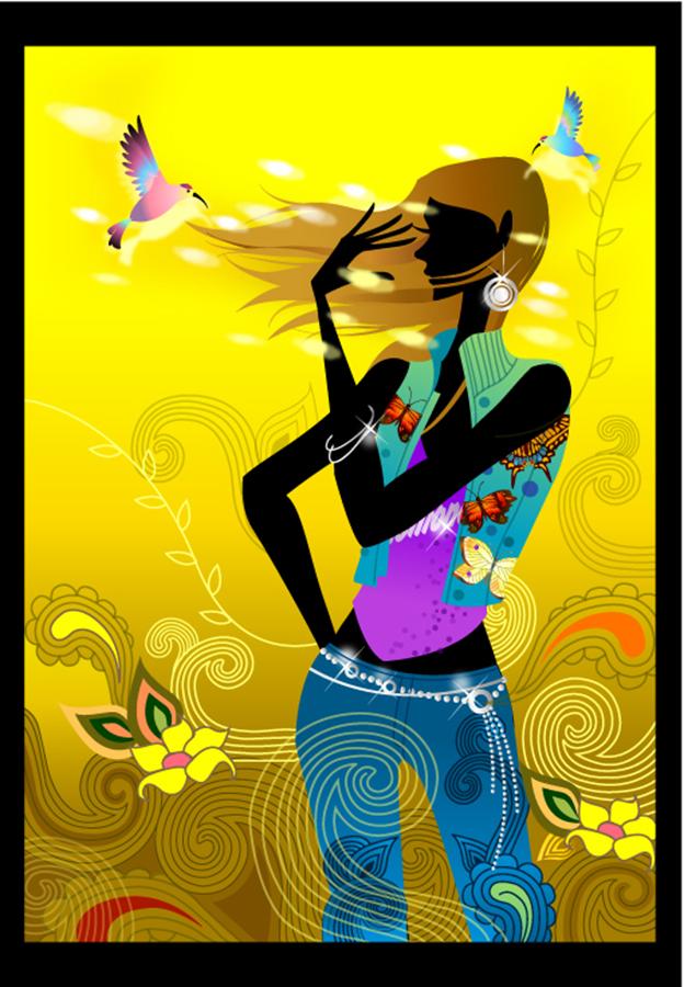 幻想的な女性のシルエット female silhouette hair flowing fashion イラスト素材