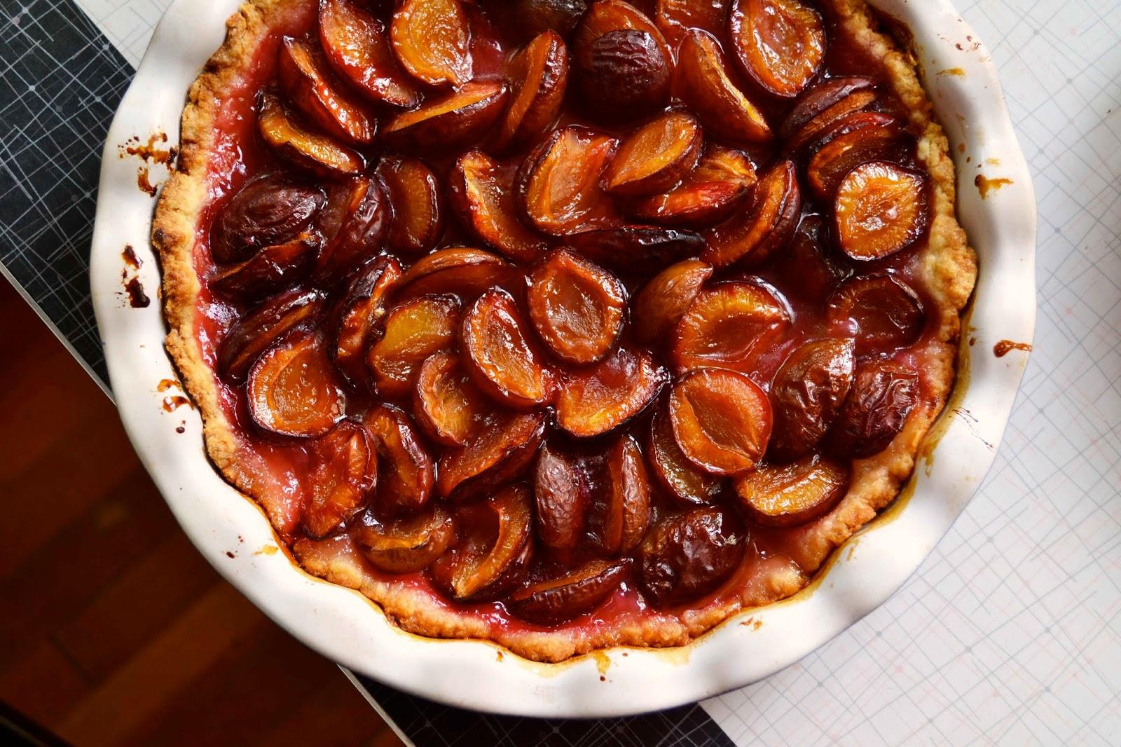Быстрый пирог со сливами на кефире рецепт
