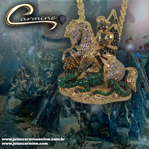 Pingente de São Jorge com pedras - Escultura de São Jorge lançamento