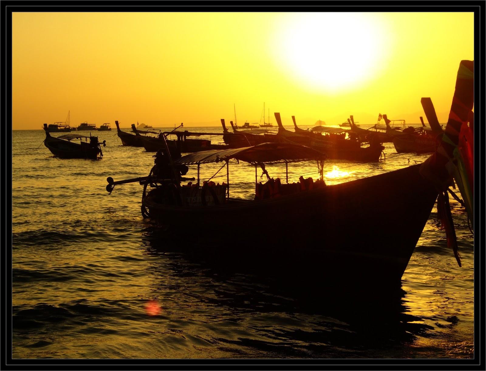 longboats at ao nang thailand
