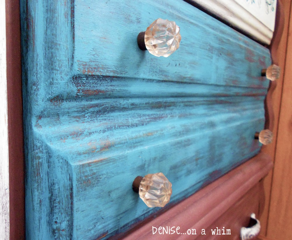 Peacock Blue Drawer Fronts and Glass Knobs via http://deniseaonwhim.blogspot.com