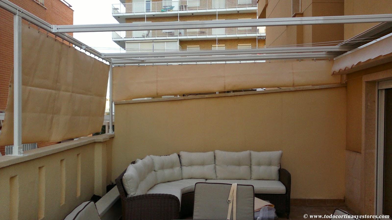 Decoracion interior cortinas verticales estores for Toldo motorizado precio