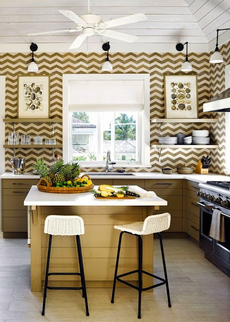 kitchen with chevron papered walls