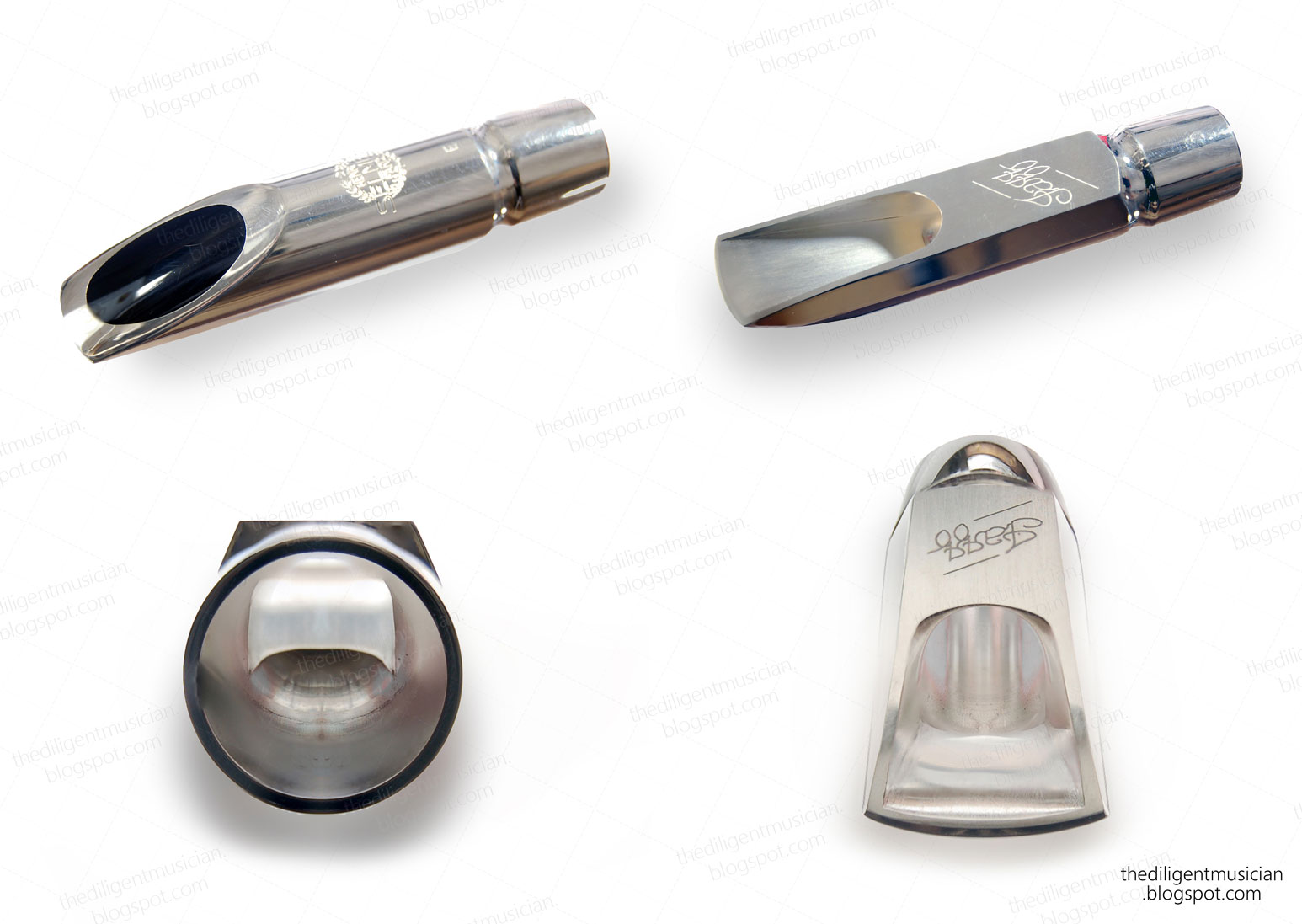 Photo montage of the Selmer Metal Jazz alto saxophone mouthpiece