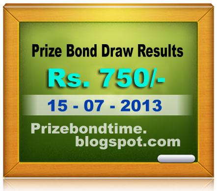 Latest draw result 750 prize bond list 750 15th july 2013