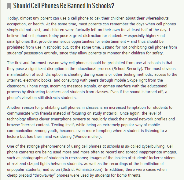 essay on the use of cellphones in schools Essay on should students be allowed to use cell phones in school 1043 words | 5 pages mount vernon school room 218 persuasive essay / cellular telephone cell phones: many american youth now have cell phones that they carry with them.