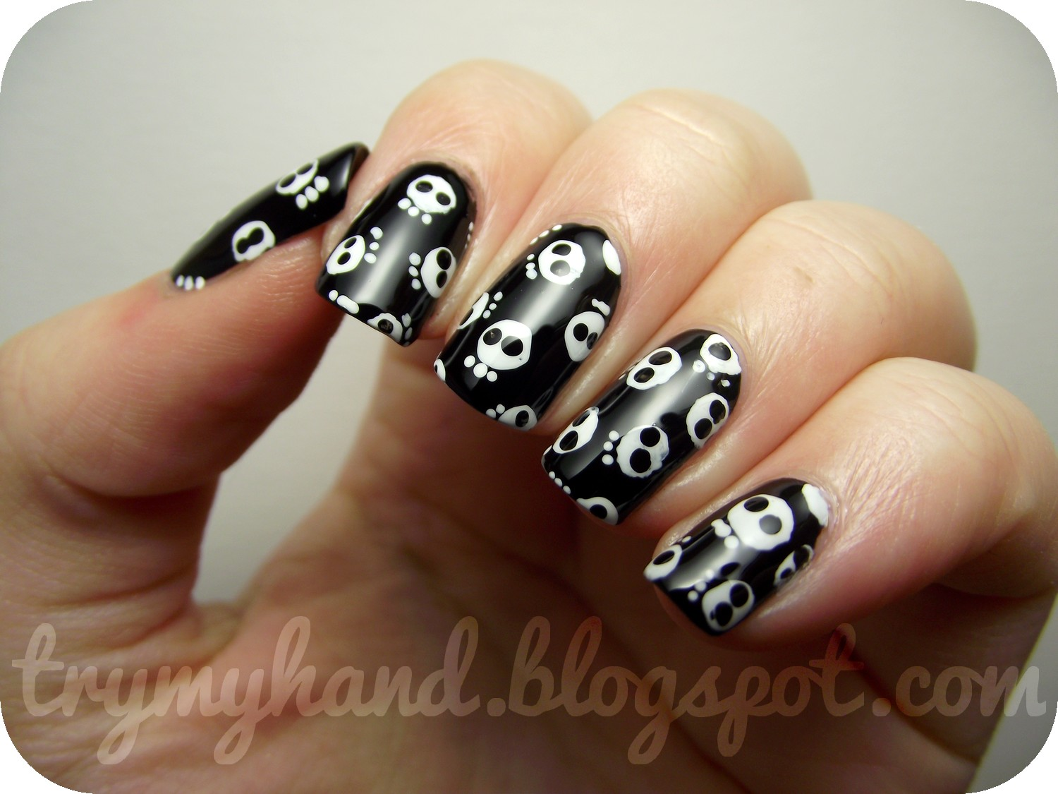 Try my hand halloween nails skull print so just in case you cant tell ive done lots of little mini skulls pretty abstract ones to say the least to make a skull print design prinsesfo Choice Image