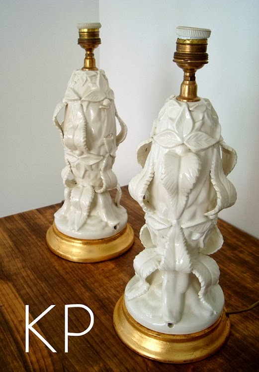 Comprar pareja de lámparas vintage de mesa estilo cerámica de manises.