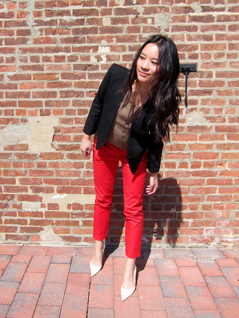 helmut lang smoking wool blazer, red zara pants