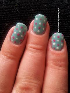kawaii nail art ibd just gel in jupiter blue with polka dots