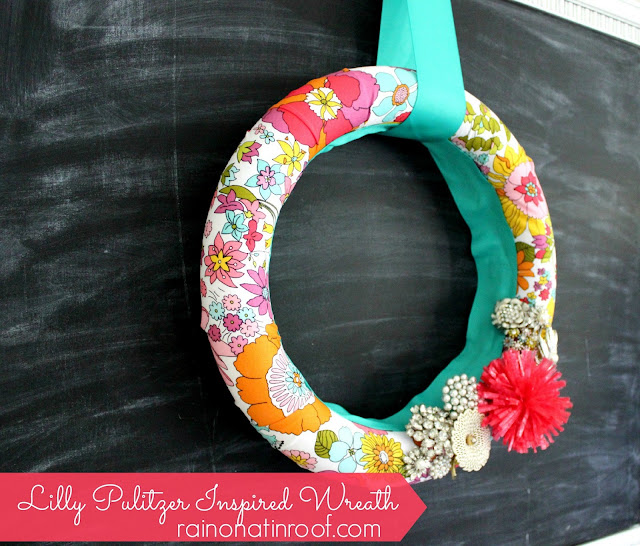 Lilly Pulitzer Inspired Wreath {rainonatinroof.com} #wreath #craft #lillypulitzer #floral #summer #lilly